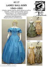 Ladies Ball Gown 1840-1863 Civil War Dress 6-34 Laughing Moon Sewing Pattern 117
