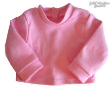 """Pink Long Sleeve T-Shirt Turtleneck for Bitty Baby + Twins 15"""" Doll Clothes"""