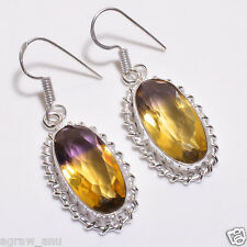 Shiny ametrine earrings pair .925 silver free shipping gift