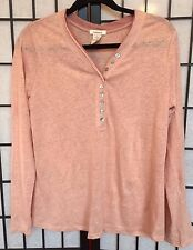 Sundance Catalog Antique Pink 100% Linen Knit Top/Shirt Long Sleeves Size S