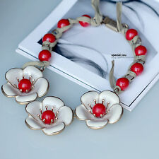 Collier Large Doré Floral Email Blanc Perle Rouge Ruban Mariage Retro AS1