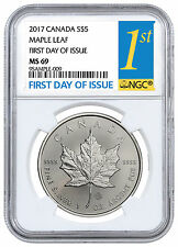 2017 Canada $5 1 oz. Silver Maple Leaf NGC MS69 First Day Issue PRESALE SKU44172
