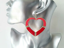 LARGE Red - coral & gold tone heart shaped big hoop drop / dangly earrings