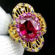 PIGEON BLOOD RED RUBY MAIN STONE 4 CT.SAPP AMETHYST 925 SILVER GOLD RING SZ 5.75