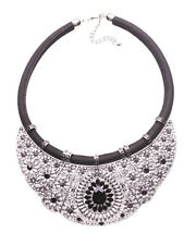Layla Chrome Bib & Black Droplet Diamond & Black Chord Statement Necklace(Ns16)