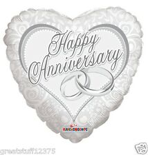 """18"""" Happy Anniversary Rings Heart Shaped Mylar Foil Balloon Party Decoration"""