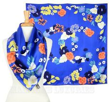 12P AUTH. NEW CHANEL SILK HEAD SCARF WRAP SHAWL BLUE FLORAL LOGO PRINT 34x34