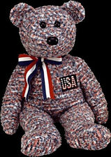 "TY BEANIE BUDDY ""USA"" US Exclusive TEDDY BEAR Retired MWMT Plush"