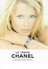 PUBLICITE ADVERTISING  1994   CHANEL  CLAUDIA SCHIFFER  collection montre