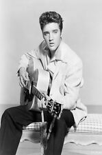 ELVIS PRESLEY - GUITAR Music The KING 24x36 inch POSTER Black and White 01