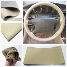 "Motor Genuine Leather Steering Wheel Cover For Car SUV Truck 14.5""-15"" Beige"