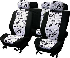 BRAND NEW BLACK FLOWER 9 PIECE CAR SEAT COVER SET
