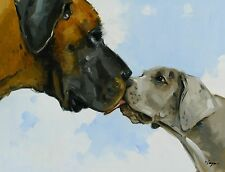 Original Oil painting - portrait of two great danes - dog  - by j payne
