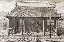 Chine Intérieur d'un temple d'idoles gravure old engraving 1750 China Asie Asia
