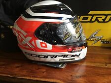 NEW! Scorpion EXO-R2000 Fortis Racing Helmet - Size Medium - White/Orange