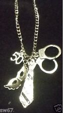 Inspired by 50 Fifty Shades of Grey Charm Necklace Handcuffs Masquerade Mask Tie