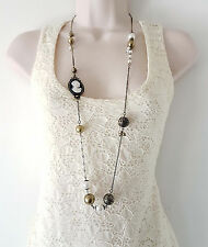 "Gorgeous 36"" long antique - vintage gold tone art deco cameo & bead necklace"