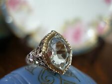 ANTIQUE 14K WHITE GOLD FILIGREE AQUAMARINE RING RARE OLD CUT ART DECO 1920'S!