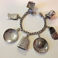 STERLING SILVER MEXICAN CHARM BRACELET MEXICO VINTAGE 1950'S .925  SIGNED