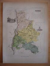 CARTE départementale de la Drôme vers 1880  Valence Die Montélimar Nyons
