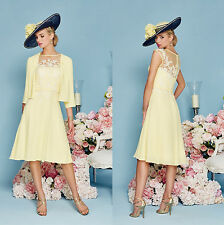 Stunning Yellow Mother Of the Bride Dress With Jacket Lace Chiffon Gowns 2016