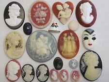 17 CAMEOS VTG NOS UNUSED FLAT-BACK CABOCHONS 40x30mm &Small FINDINGS 1950s JAPAN