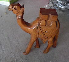 """Vintage Hand Carved Wood Standing Camel Figurine 5 5/8"""" Tall"""