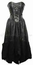 Black Leather & Lace RAVEN Medieval Corset Fishtail Dress GOTHIC Vampire 8-12