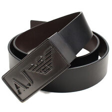 Armani Jeans Mens Black AJ Metal Buckle Leather Belt One Size