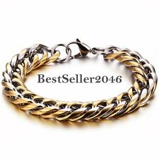 Gold and Silver Tone Polished Stainless Steel Cuban Curb Chain Link Bracelet
