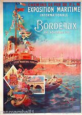 Exposition Maritime Bordeaux France Frence Vintage Travel Advertisement Poster