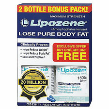 LIPOZENE MAXIMUM STRENGTH 2 BOTTLES BONUS PACK WEIGHT LOSS DIET PILLS LIPOZENE