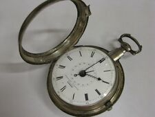 Superbe montre à coq à quantième Antique pocket watch Date Fusee Verge Silver