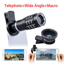 3in1 Telephoto+Wide Angle +12.5X Macro Camera Lens Kit For Universal Smart Phone
