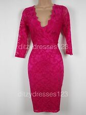 BNWT Definitions Pink Lace Cross Front Bodycon Wiggle Dress Size 8 RRP £49