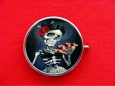 SKELETON LADY DAY OF THE DEAD SUGAR SKULL ROUND METAL PILL BOX