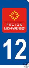 1 Sticker plaque AUTO adhésif département 12