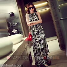 fSb Imported Women Casual Black O-Neck Print Ankle-Length Maxi Dress