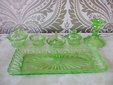 Vintage Retro Art deco green Uranium Glass Dressing Table Set Tray Trinket Boxes