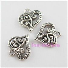 30Pcs Tibetan Silver Tone Hollow Heart Charms Pendants 13x14mm