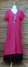 LAGENLOOK LINEN AMAZING A-LINE 2 POCKETS LONG DRESS**FUCHSIA**BUST UP TO 46""
