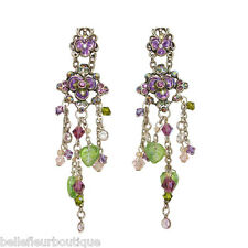 Sweet Romance Spray of Violet Enamel Flowers and Crystals Post Earrings 3-1/4""