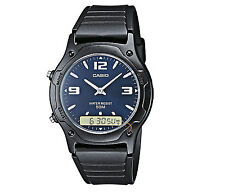 Casio AW-49HE-2AV Men 50M Water Resistant Dual Time Watch Auto Calendar New