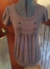 Junior Women's! Mine Brown Baby Doll Style SMALL Short Sleeve Short Top 269