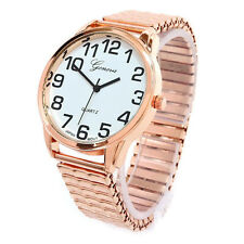 Rose Gold Large Face Geneva Stretch Band Women's Watch