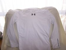 Boys Under Armour White Long Sleeve COLD GEAR Shirt Large FITTED