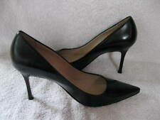 NEW $665 MANOLO BLAHNIK NEW TUCCIO BLACK LEATHER 90MM POINT TOE PUMP 40 10