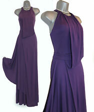 Karen Millen Purple Halterneck Draped Jersey Cocktail Maxi Dress sz8/36 £235