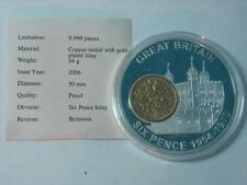 1962 Gold Plated SIXPENCE Coin Inlay on Silver Plated Proof Britannia Medal COA