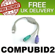 NEW USB 2.0 TO PS2 CABLE LEAD ADAPTOR MOUSE KEYBOARD SPLITTER UK STOCK FREE POST